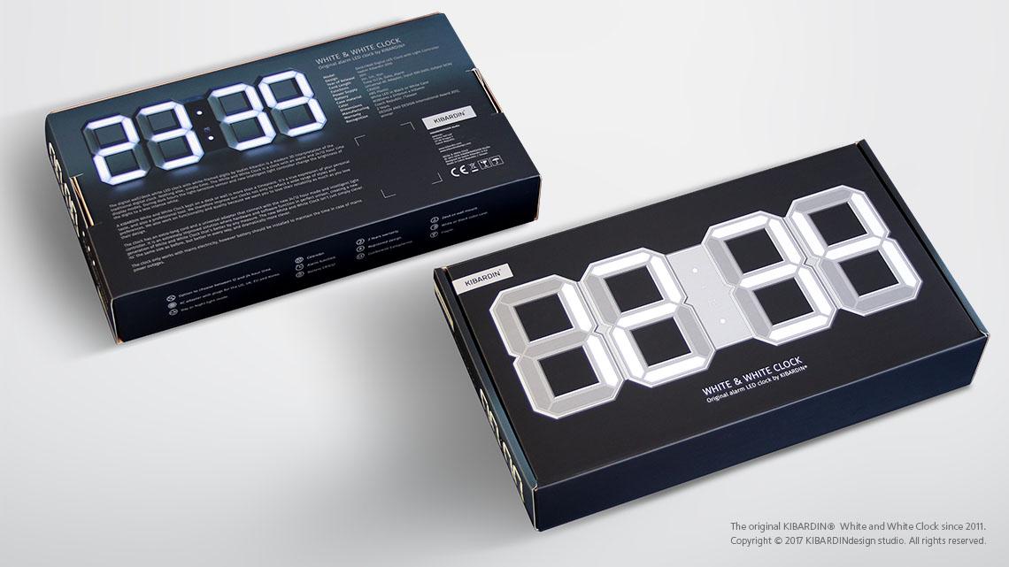 White Amp White Led Clock Black Edition